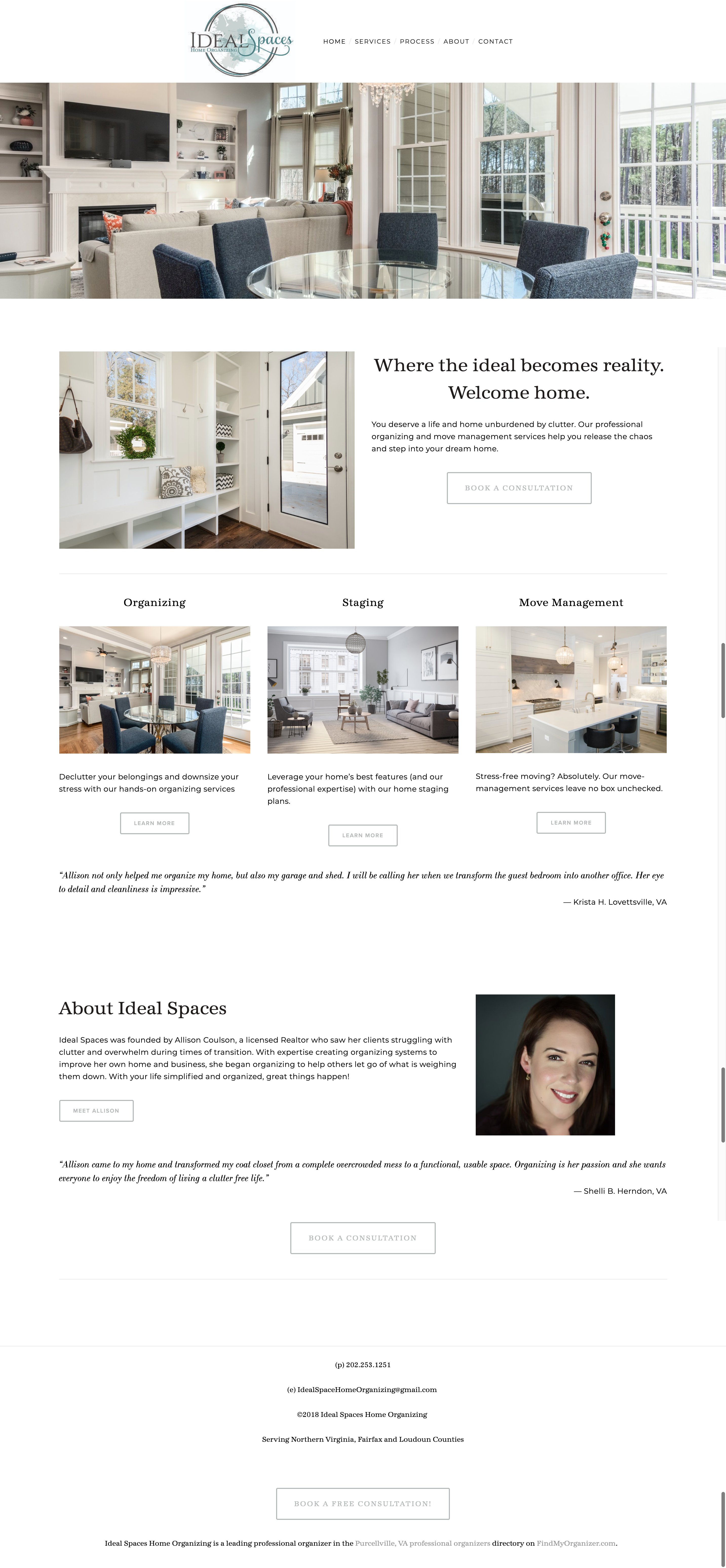 Website copy for a home stager and professional organizer in Virginia by The AgenShe