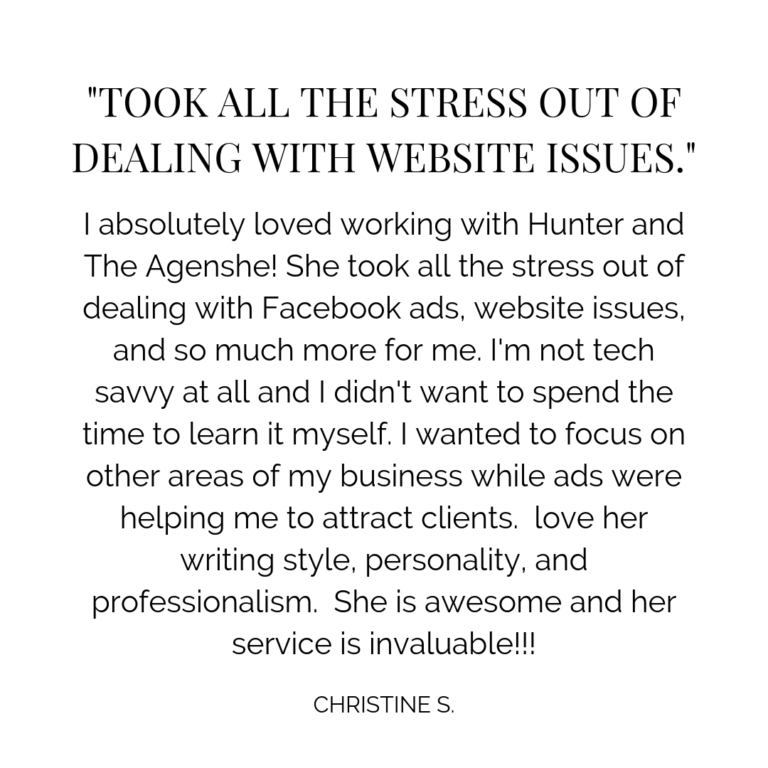 testimonial for the agenshe marketing consultant for professional organizers